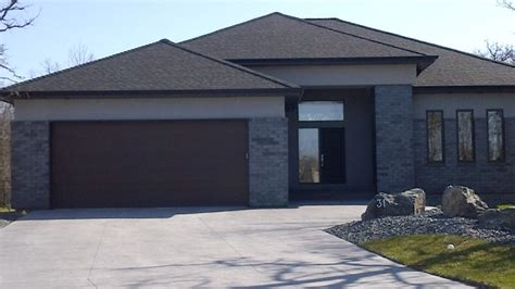 Dark Gray Dining Room Grey Brick Feature Modern Exterior Other By