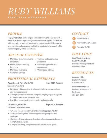 Modern Vintage Interior Design Orange Professional Executive Assistant Resume Templates