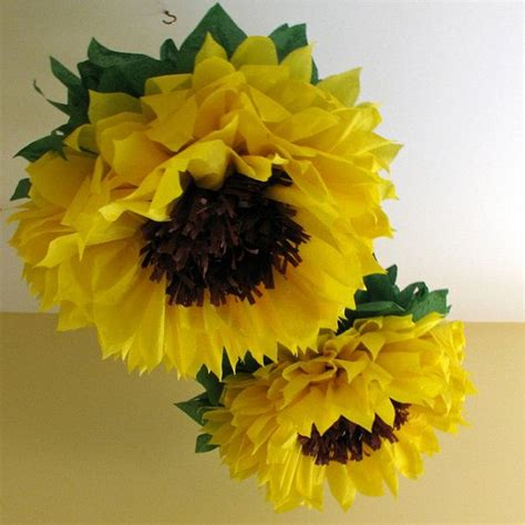 How To Make Sunflower Paper Flowers - happy sunflowers 5 paper flowers yellow wedding
