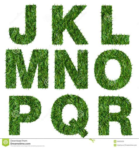 21705 White Nature M L by Letters J K L M N O P Q R Made Of Green Grass Stock Photos