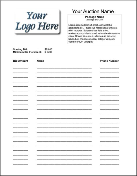 silent auction catalog template silent auction bid sheet template 1641 silent auction