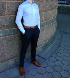 blue dress shirt navy chinos oxford shoes brown belt
