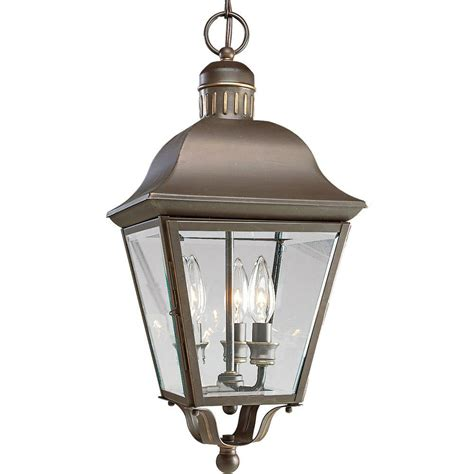 Lantern Patio Lights Glomar 3 Light Outdoor White Hanging Lantern With Clear Beveled Glass Hd 894 The Home Depot