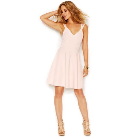 42143 Pink Iconic Textured Dress guess flared bandage dress in pink iconic
