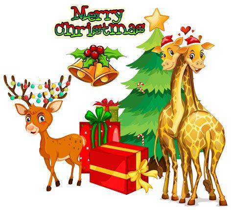 christmas theme  deer  giraffe   vectors clipart graphics vector art