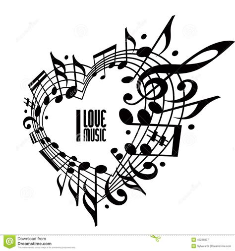 i love music concept black and white design stock vector