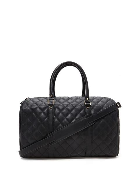 Quilted Travel Bag by Forever 21 Quilted Faux Leather Travel Bag In Black Save