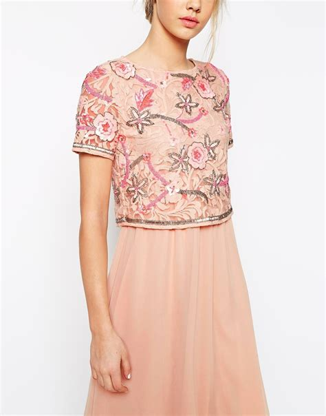 Yasmin Top 2in1 Pnk frock and frill 2 in 1 embellished top midi skater dress with chiffon skirt in pink lyst