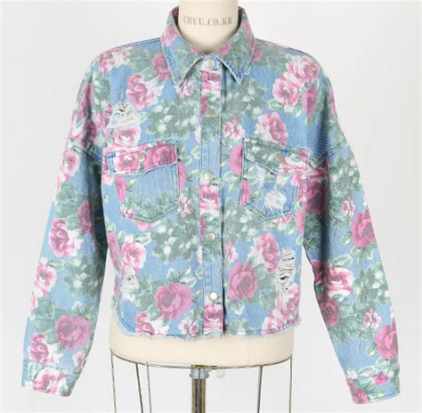 Jaket Motif Bunga Tranparan jaket denim motif bunga dari chuu