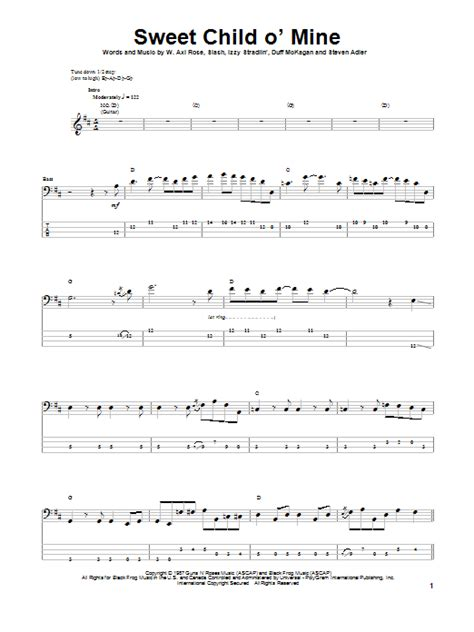tutorial guitar sweet child o mine sweet child o mine bass guitar tab by guns n roses bass