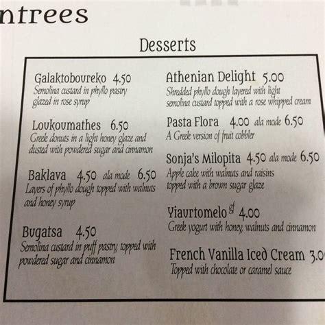greek house menu lunch dessert menu closeup yelp