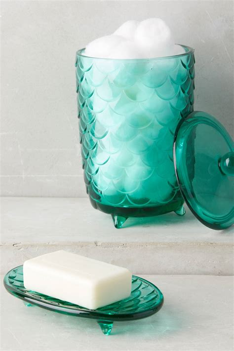 glass bathroom containers turquoise scalloped glass bath container everything turquoise