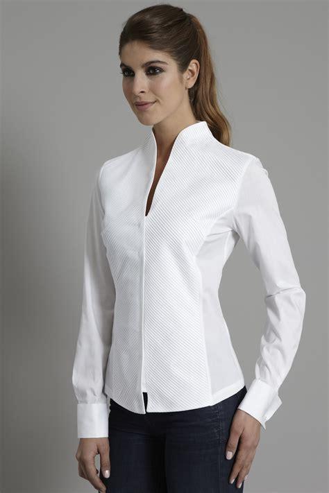 25507 Basic Soft Stripe Blouse 21 Popular Womens White Blouse With Collar Sobatapk