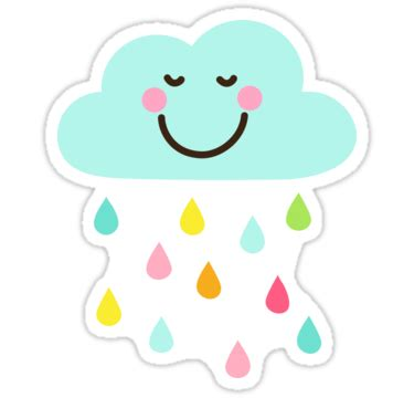 Wall Stickers Clouds quot cute happy cloud with colorful raindrops sticker