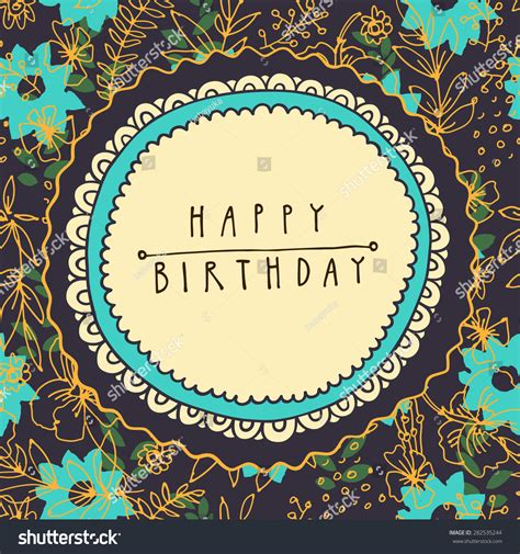 Retro Birthday Card Template by Happy Birthday Vintage Vector Greeting Card Stock Vector