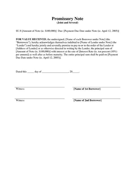promise to pay agreement template best photos of promissory contract template promise to