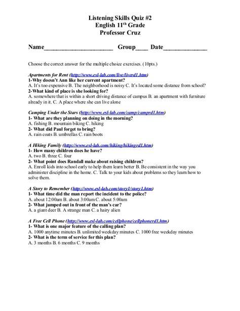 printable listening quiz listening skills quiz 2