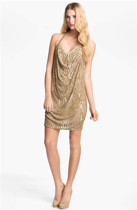 beaded halter dress haute hippie beaded silk halter dress in gold buff gold