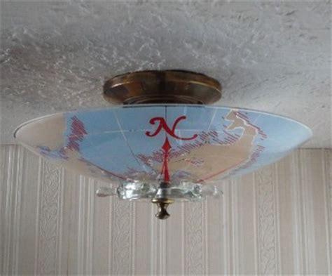 vintage nautical ship wheel glass ceiling light fixture ebay