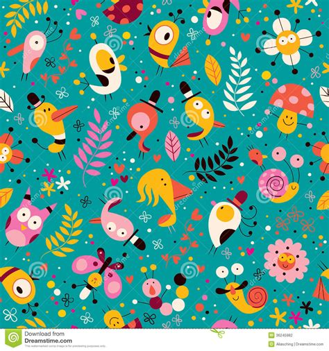 cute characters nature pattern stock photography image