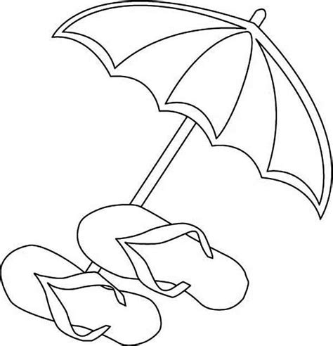 a beach umbrella and slippers coloring page download