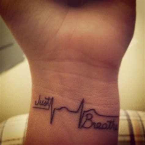 heartbeat tattoo breathe amazing forearm heartbeat tattoo quotes design for girls