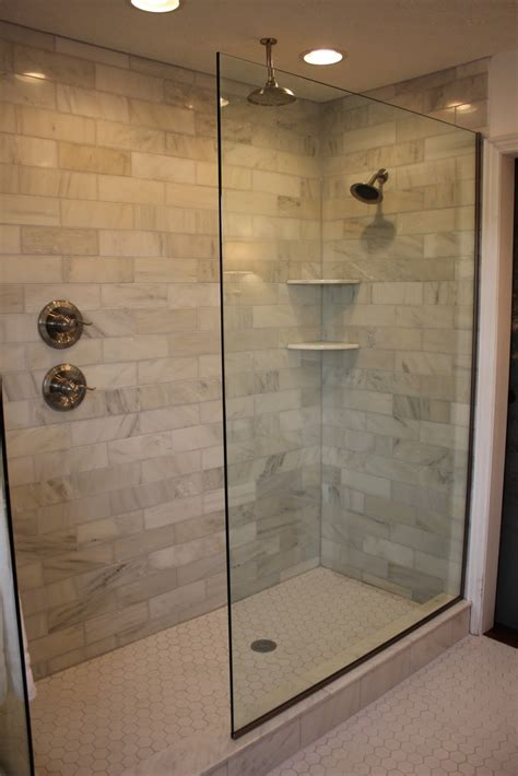 Bathroom Layouts With Tub And Shower Doorless Walk In Shower Designs Shower Handle On Separate Wall Bathroom Legs Pinterest