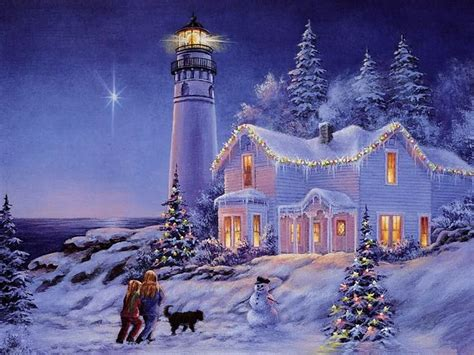 lighthouse  images christmas pictures beautiful christmas cards christmas scenes