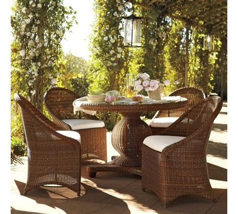 All Weather Wicker Dining Table And Chairs Pottery Barn Palmetto All Weather Wicker Pedestal Dining Table Garden