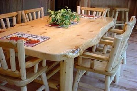 explore rustic log dining roon table sets