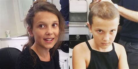 women buzz cut before and after millie brown of stranger things posts video of her