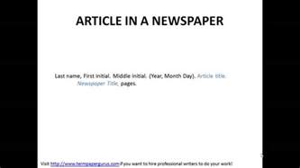 Quote Article Title In Essay by How To Cite An Article In A Newspaper In Apa Format