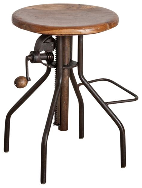 Industrial Kitchen Stools by Adjustable Crank Bar Stool Industrial Bar Stools