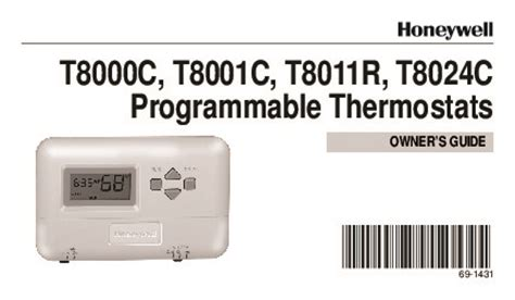 Honeywell Programmable Thermostats T8000c T8001c T8011r