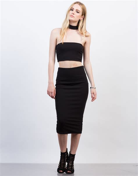 choker crop top and midi skirt set 2020ave