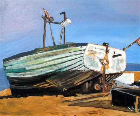 boat canvas long beach boat on beach in aldeburgh gordon powles canvas art