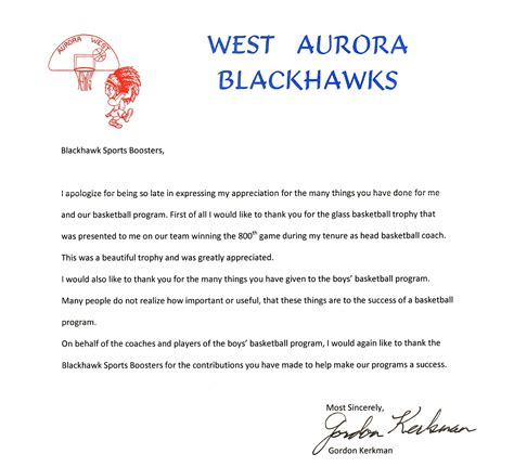 thank you letter after meeting college coach thank you coach kerkman blackhawk sports boosters