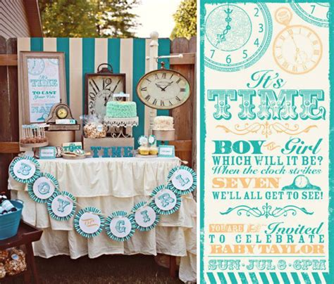 Baby Shower Gender Reveal Ideas by Kara S Ideas Clock Themed Reveal Gender Baby Shower