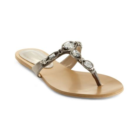 Studio Nine Flat Sandal Shoes nine west evania flat sandals in silver pewter lyst