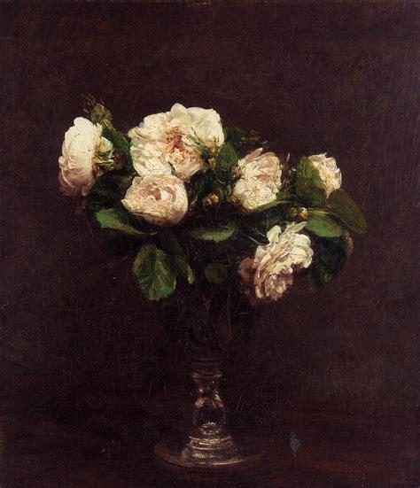 Famous Paintings Of Flowers In Vases White Roses C 1875 Henri Fantin Latour Wikiart Org