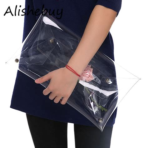 Waterproof Casual Elegan fashion ol transparent handbag work clear clutches totes waterproof envelope bags