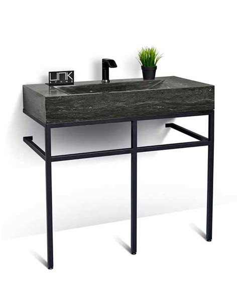 steel bathroom vanity unik stone 39 quot stone and black steel bathroom vanity unit
