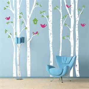 Deer Wall Mural birch trees wall decal with birds extra large wall mural