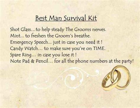 Funny best man survival kit poem   Backyard wedding in
