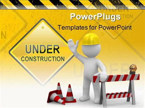 ppt templates free download construction worker says hello we are under construction powerpoint