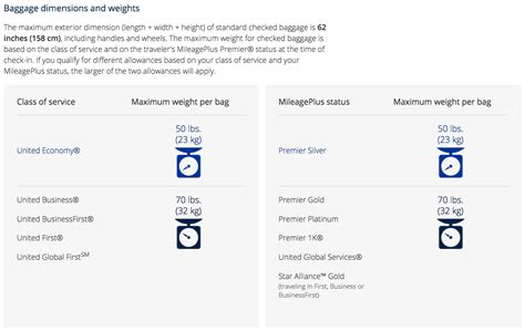 baggage fees for united united airlines international baggage allowance united