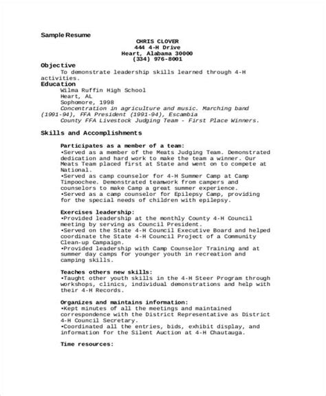 resume format for summer pdf 9 c counselor resume templates pdf doc free