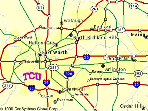 texas christian university map d fw map