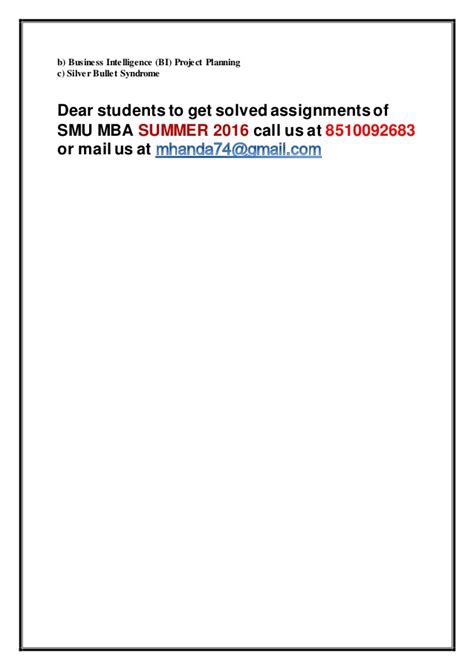 Smu Mba 1st Semester Solved Question Papers by Mi0036 Business Intelligence Tools 3 Rd Sem Mba Summer