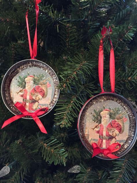canning jar lids  santa ornaments christmas tins